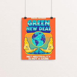 "Net Neutrality is NOT A GAME by Roberlan Paresqui 8"" by 10"" Print / Unframed Print Green New Deal"