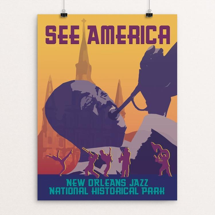 "New Orleans Jazz National Historical Park by Cecelia Mattera 18"" by 24"" Print / Unframed Print See America"