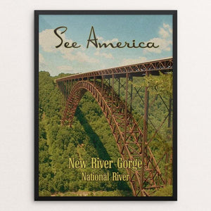 "New River Gorge National River by Ed Gaither 12"" by 16"" Print / Framed Print See America"