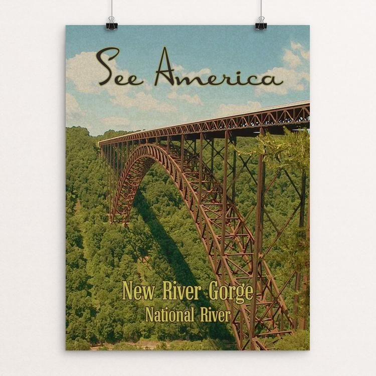 "New River Gorge National River by Ed Gaither 12"" by 16"" Print / Unframed Print See America"