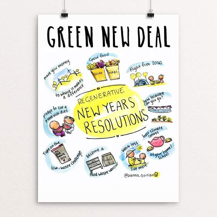 "New Years Resolutions by Brenna Quinlan 18"" by 24"" Print / Unframed Print Green New Deal"