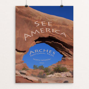 "North Window, Arches National Park by Jane Rohling 12"" by 16"" Print / Unframed Print See America"