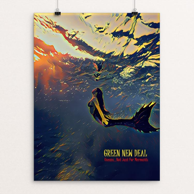 "Not Just For Mermaids by Bryan Bromstrup 18"" by 24"" Print / Unframed Print Green New Deal"