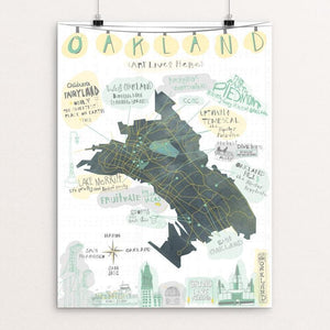 "Oakland Map by Mara Penny 12"" by 16"" Print / Unframed Print Art Lives Here"