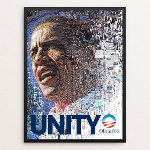 "Obama 2008: UNITY 2 by Charis Tsevis 12"" by 16"" Print / Framed Print Design For Obama"