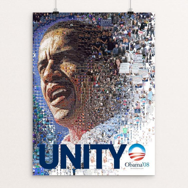 "Obama 2008: UNITY 2 by Charis Tsevis 12"" by 16"" Print / Unframed Print Design For Obama"