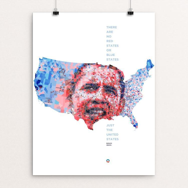 "Obama 2012: Just the United States by Charis Tsevis 12"" by 16"" Print / Unframed Print Design For Obama"