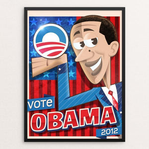 "Obama Cartoon 2012 by Roberlan Borges 12"" by 16"" Print / Framed Print Design for Obama"