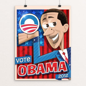 "Obama Cartoon 2012 by Roberlan Borges 12"" by 16"" Print / Unframed Print Design for Obama"