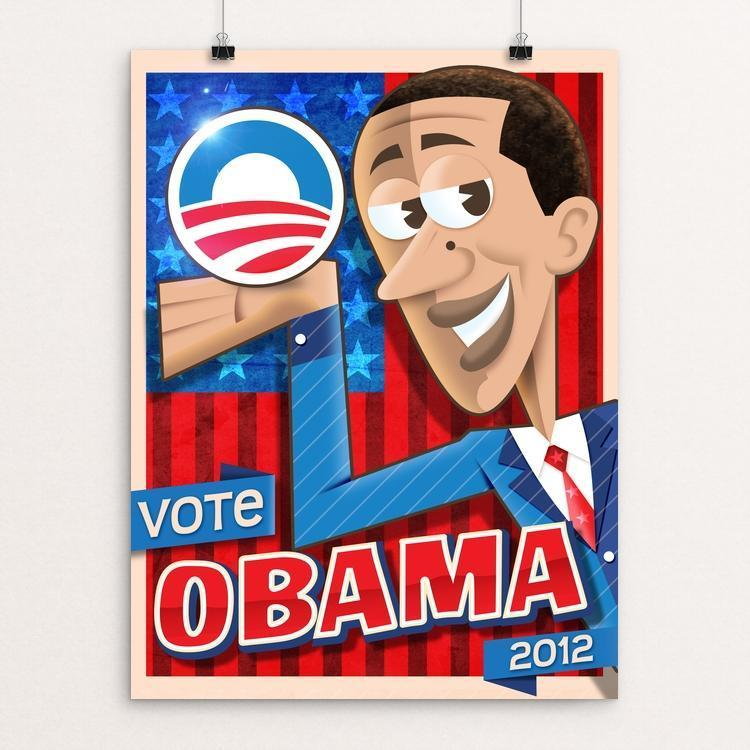 "Obama Cartoon by Roberlan Paresqui 12"" by 16"" Print / Unframed Print Design For Obama"