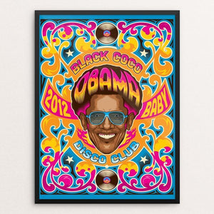 "Obama Disco Club 2012 by Roberlan Borges 12"" by 16"" Print / Framed Print Design for Obama"