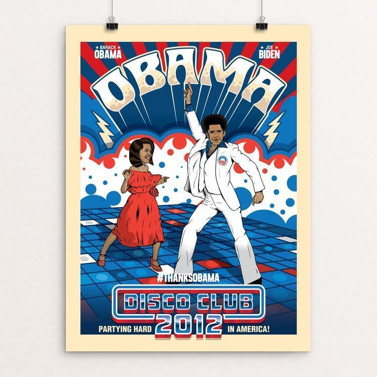 "Obama Disco Club by Roberlan Paresqui 12"" by 16"" Print / Unframed Print Design For Obama"