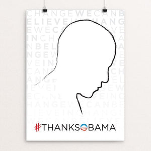 "Obama Silhouette by Lee Anne Dollison 12"" by 16"" Print / Unframed Print Design For Obama"
