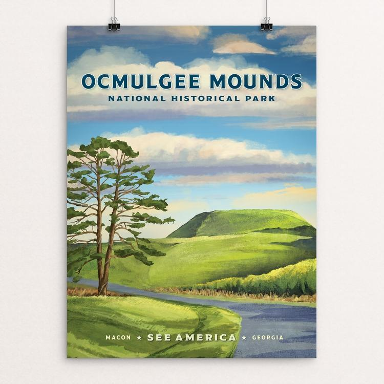 "Ocmulgee National Historic Park by Jon Cain 18"" by 24"" Print / Unframed Print See America"