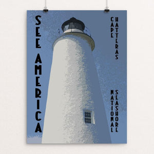 "Ocracoke Lighthouse, Cape Hatteras National Seashore by David Wooldridge 12"" by 16"" Print / Unframed Print See America"