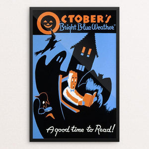 "October's ""bright blue weather"" A good time to read! by Albert M. Bender 12"" by 18"" Print / Framed Print WPA Federal Art Project"