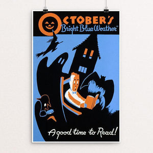 "October's ""bright blue weather"" A good time to read! by Albert M. Bender 12"" by 18"" Print / Unframed Print WPA Federal Art Project"