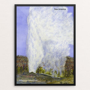 "Old Faithful Geyser, Yellowstone National Park by Vito Marrone 12"" by 16"" Print / Framed Print See America"