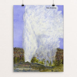 "Old Faithful Geyser, Yellowstone National Park by Vito Marrone 12"" by 16"" Print / Unframed Print See America"
