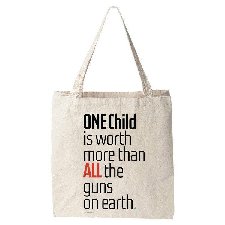 ONE Child is Worth More Tote Bag by Chris Lozos Tote Bag The Gun Show