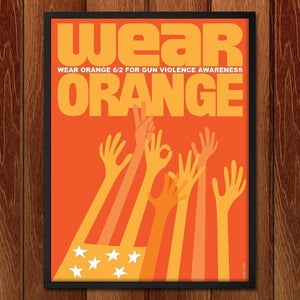 "Orange Stars and Stripes by Karl Tani 12"" by 16"" Print / Framed Print Wear Orange"