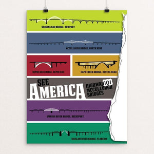 "Oregon Coast Highway 101 McCullough Bridges by Design By Goats 12"" by 16"" Print / Unframed Print See America"