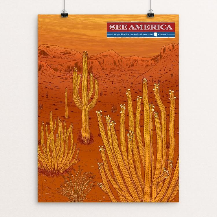 "Organ Pipe Cactus National Monument by Brixton Doyle 12"" by 16"" Print / Unframed Print See America"