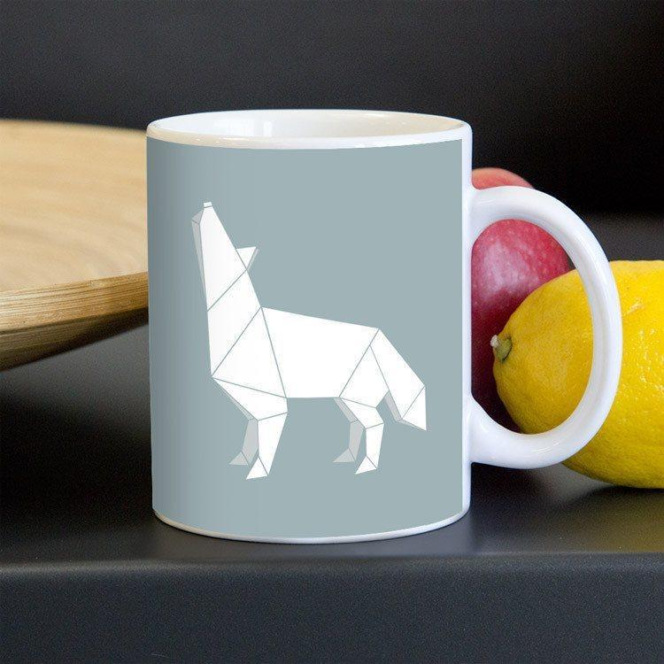 Origami Wolf Mug by Todd Gilloon
