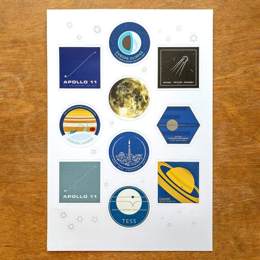 Outer Space Sticker Sheet by Katarina Eriksson Stickers Space Horizons