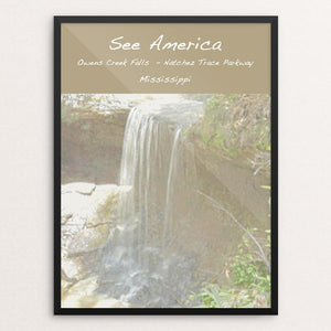 "Owens Creek Waterfall, Natchez Trace Parkway by Jennie Lambert 12"" by 16"" Print / Framed Print See America"