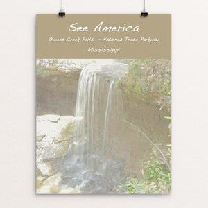 "Owens Creek Waterfall, Natchez Trace Parkway by Jennie Lambert 12"" by 16"" Print / Unframed Print See America"