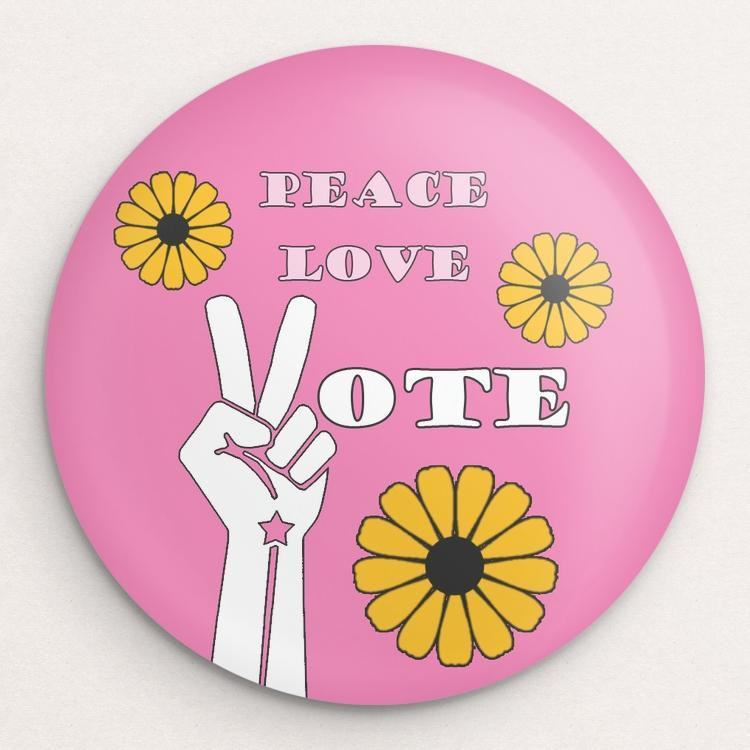 Peace Love Vote Button by Lisa Vollrath