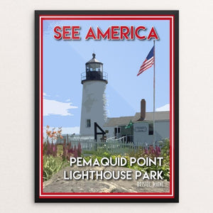 "Pemaquid Point Lighthouse Park by Robin Rials Williams 12"" by 16"" Print / Framed Print See America"