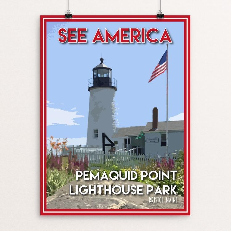"Pemaquid Point Lighthouse Park by Robin Rials Williams 12"" by 16"" Print / Unframed Print See America"