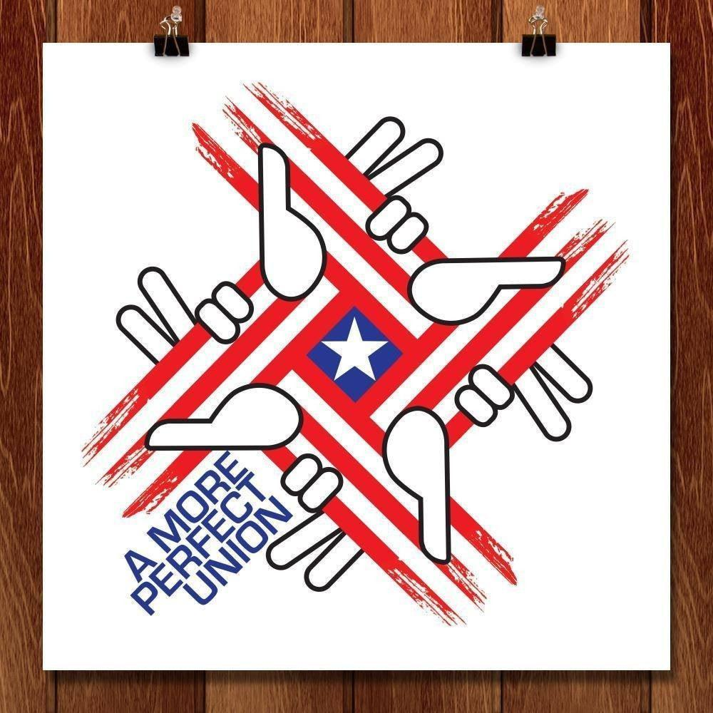 "Perfect Union Hands by Karl Tani 12"" by 12"" Print / Unframed Print A More Perfect Union"