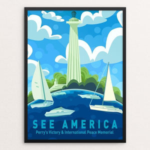 "Perry's Victory & International Peace Memorial by Kirsten Mischler 12"" by 16"" Print / Framed Print See America"
