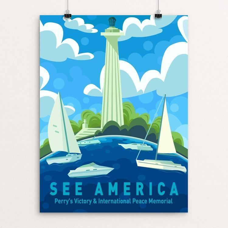 "Perry's Victory & International Peace Memorial by Kirsten Mischler 12"" by 16"" Print / Unframed Print See America"