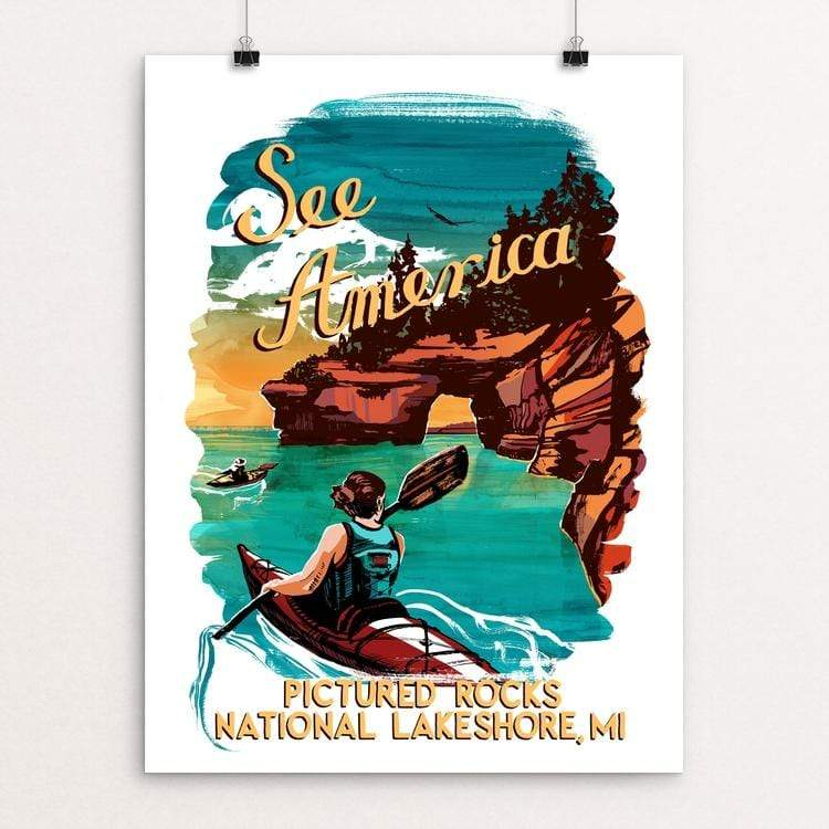 "Pictured Rocks National Lakeshore by Esther Licata 12"" by 16"" Print / Unframed Print See America"