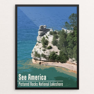 "Pictured Rocks National Lakeshore by Katie 12"" by 16"" Print / Framed Print See America"