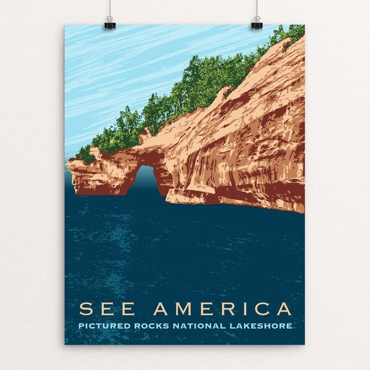 "Pictured Rocks National Lakeshore by Mark Forton 12"" by 16"" Print / Unframed Print See America"