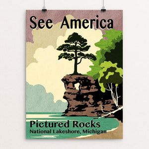 "Pictured Rocks National Lakeshore by Mike Stockwell 12"" by 16"" Print / Unframed Print See America"