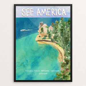 "Pictured Rocks National Lakeshore by Susanne Lamb 12"" by 16"" Print / Framed Print See America"