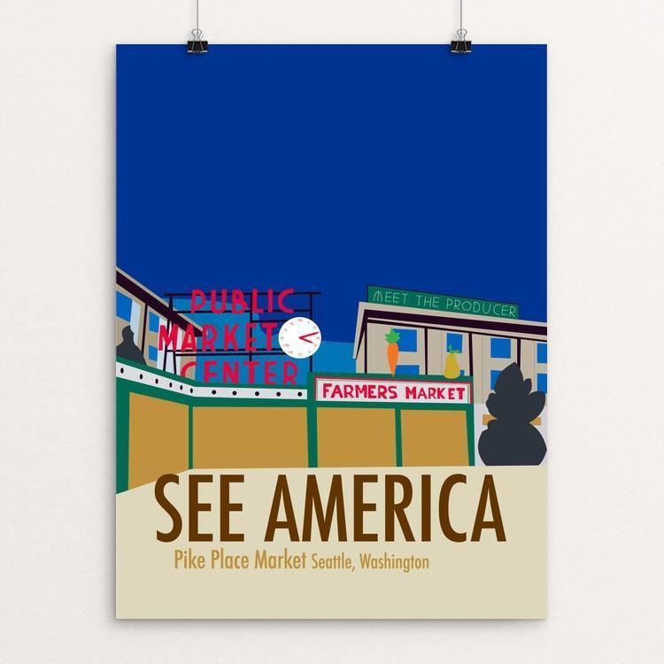 "Pike Place Market by Ryan Punkiewicz 18"" by 24"" Print / Unframed Print See America"