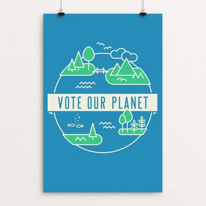 "Planet Earth by Ev Henke 12"" by 18"" Print / Unframed Print Vote Our Planet"