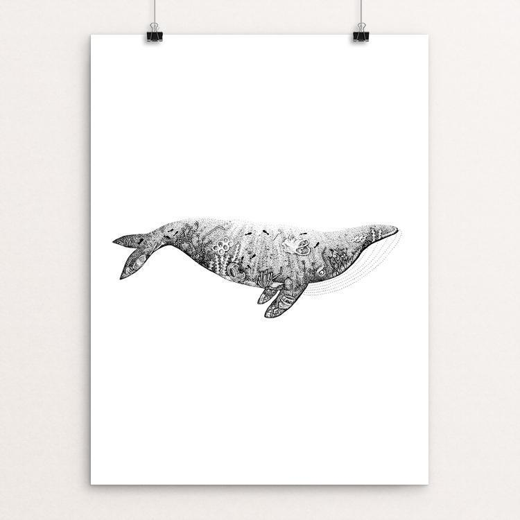 "Plastic Ocean - Whale by Stefán Pétursson 12"" by 16"" Print / Unframed Print Creative Action Network"