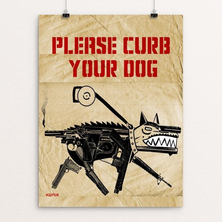 "Please Curb Your Dog by Peter Kuper 12"" by 16"" Print / Unframed Print The Gun Show"