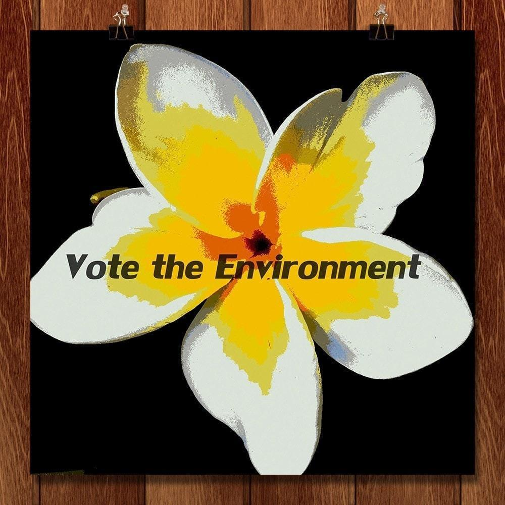 "Plumeria, Vote the Environment by Laura Hendrix 12"" by 12"" Print / Unframed Print Vote the Environment"