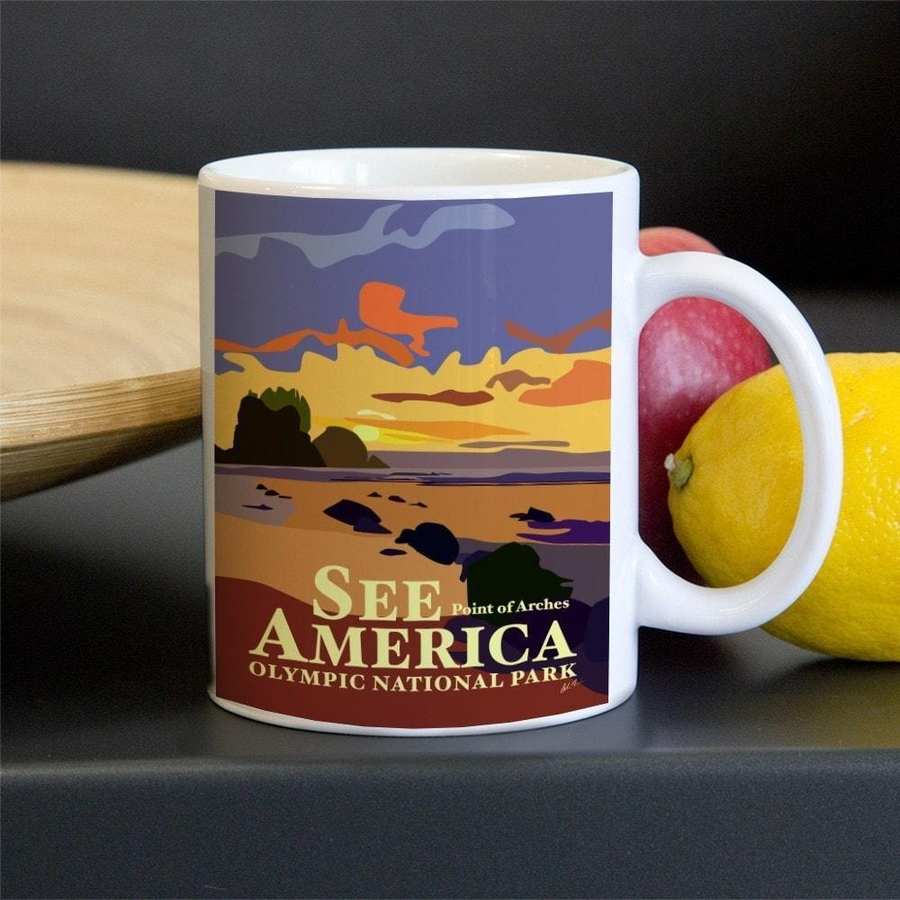 Point of Arches, Olympic National Park Mug by Alan Haines 11oz Mug See America