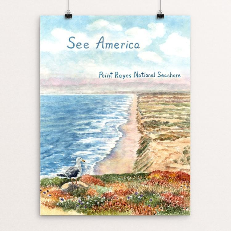 "Point Reyes National Seashore by Elizabeth Kennen 12"" by 16"" Print / Unframed Print See America"