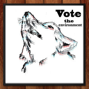 "Predator Wolf by Lorenzo Angel 12"" by 12"" Print / Framed Print Vote the Environment"